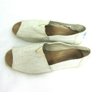 Toms Canvas Classic Slip On Open Toe Shoes Ivory
